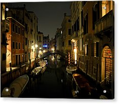 Acrylic Print featuring the photograph Venice At Night by Silvia Bruno