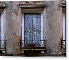 Venice Blue Shutters Horizontal Photo Acrylic Print