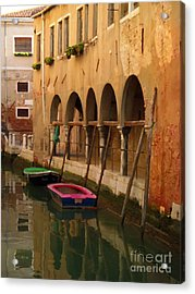 Venice Boats On Canal Acrylic Print