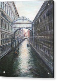 Venice Bridge Of Sighs - Original Oil Painting Acrylic Print