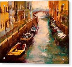 Venice Canal Acrylic Print by David Patterson