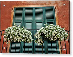 Acrylic Print featuring the photograph Venice Flower Balcony 2 by Allen Beatty