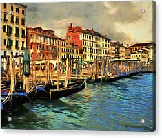 Acrylic Print featuring the painting Venice From The Water by Jeff Kolker