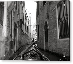 Venice Gondola Black And White Acrylic Print by Teresa Tilley