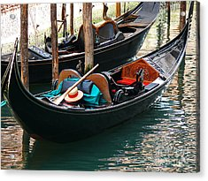Acrylic Print featuring the photograph Venice Gondola by Jeanne  Woods