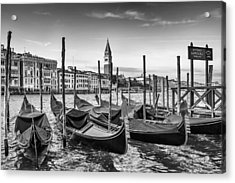 Venice Grand Canal And Goldolas In Black And White Acrylic Print by Melanie Viola