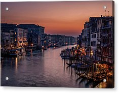 Venice Grand Canal At Sunset Acrylic Print by Karen Deakin