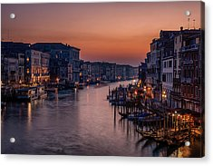 Venice Grand Canal At Sunset Acrylic Print by Photography By Karen