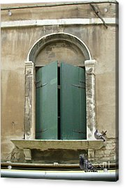 Venice Green Shutters With Birds Acrylic Print