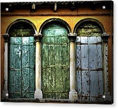 Acrylic Print featuring the photograph Venice Italy 3 Doors by Gigi Ebert