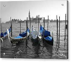Venice Italy Boats In Black And Blue Acrylic Print