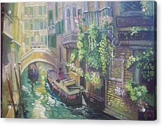 Acrylic Print featuring the painting Venice -italy by Paul Weerasekera