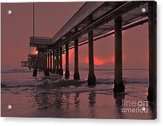 Venice Pier In Red Acrylic Print