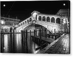Venice Rialto Bridge At Night Black And White Acrylic Print