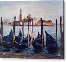Venice Through The Gondolas Italy Painting Acrylic Print by Quin Sweetman