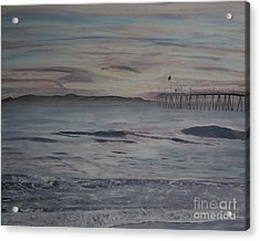 Acrylic Print featuring the painting Ventura Pier High Surf by Ian Donley
