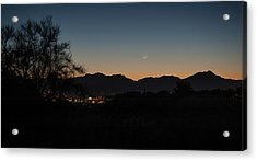 Acrylic Print featuring the photograph Venus And A Young Moon Over Tucson by Dan McManus