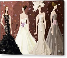 Vera Wang Bridal Dresses Fashion Illustration Art Print Acrylic Print by Beverly Brown
