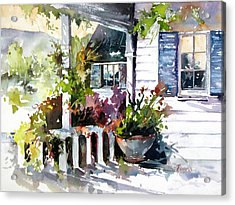 Veranda Shadows Acrylic Print by Rae Andrews