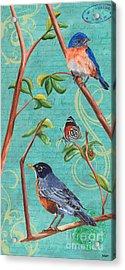 Verdigris Songbirds 1 Acrylic Print by Debbie DeWitt