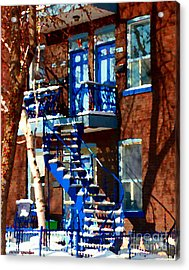 Verdun Duplex Stairs With Birch Tree Montreal Winding Staircases Winter City Scene Carole Spandau Acrylic Print by Carole Spandau