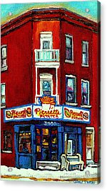 Verdun Landmarks Pierrette Patates Resto Cafe  Deli Hot Dog Joint- Historic Marquees -montreal Scene Acrylic Print by Carole Spandau