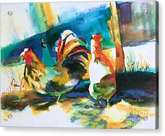 Acrylic Print featuring the painting Veridian Chicken by Kathy Braud