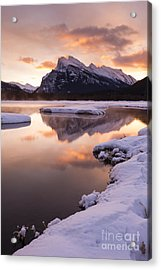 Vermillion Lakes In Banff National Park Acrylic Print by Ginevre Smith