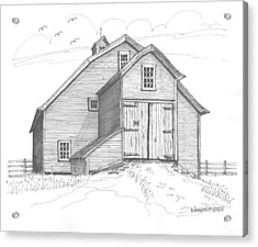Acrylic Print featuring the drawing Vermont Barn by Richard Wambach