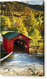 Vermont Covered Bridge Fall Scenic Acrylic Print by George Oze
