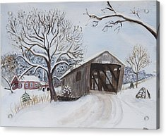 Acrylic Print featuring the painting Vermont Covered Bridge In Winter by Donna Walsh