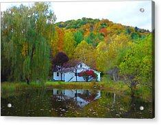 Vermont House In Full Autumn Acrylic Print