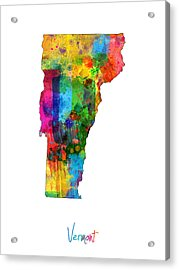 Vermont Map Acrylic Print by Michael Tompsett