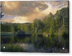 Acrylic Print featuring the painting Vermont Morning Reflection by Jeff Kolker