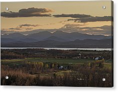 Vermont New York Sunset Lake Champlain Mountains Acrylic Print by Andy Gimino