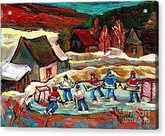 Vermont Pond Hockey Scene Acrylic Print by Carole Spandau