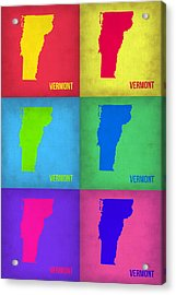 Vermont Pop Art Map 1 Acrylic Print by Naxart Studio