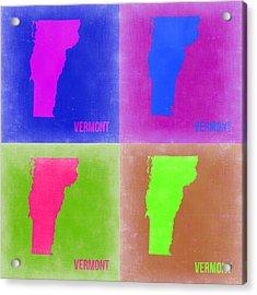 Vermont Pop Art Map 2 Acrylic Print by Naxart Studio