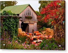 Acrylic Print featuring the photograph Vermont Pumpkins And Autumn Flowers by Jeff Folger