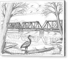 Acrylic Print featuring the drawing Vermont Railroad On Connecticut River by Richard Wambach