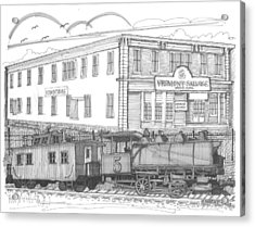 Acrylic Print featuring the drawing Vermont Salvage And Train by Richard Wambach