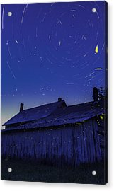 Vermont Twilight Blue Hour Farmhouse Startrails Fireflies Acrylic Print by Andy Gimino