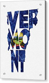 Vermont Typographic Map Flag Acrylic Print by Ayse Deniz