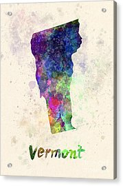 Vermont Us State In Watercolor Acrylic Print by Pablo Romero