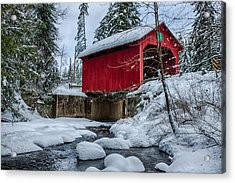 Vermonts Moseley Covered Bridge Acrylic Print by Jeff Folger
