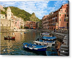 Acrylic Print featuring the photograph Vernazza Boatman - Cinque Terre Italy by Carl Amoth