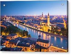Verona At Night Acrylic Print by Spooh