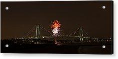Verrazano Narrows Bridge Fireworks Acrylic Print