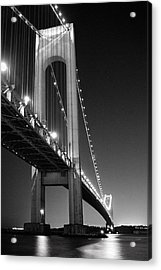 Verrazano Bridge At Night - Black And White Acrylic Print