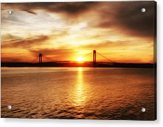 Verrazano Bridge At Sunset Acrylic Print by Boris Mordukhayev
